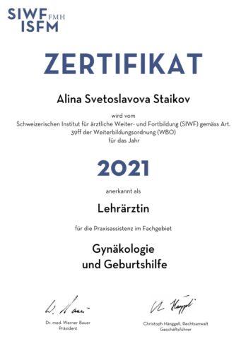 SIWF Zertifikat, Dr.med.(BG) Alina Staikov