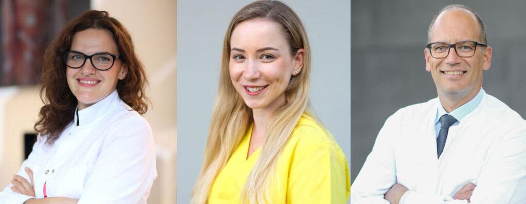 Unterstützen ihre Patientinnen im Kampf gegen Endometriose: Dr. med. (bg) Alina Staikov, Melanie Vogt und Dr. med. Plamen Kostov.